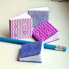 Make tiny books from folded paper.