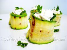 Rotolini di zucchina con caprino e mentuccia, Ricetta stuzzichini estivi