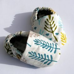 Organic Baby Shoes-- Nature Walk teal, moss and crimson leaves and trees on white 0 3 6 12 18 months baby booties- Baby Clothes on Etsy, $28.00
