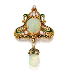 18 KARAT GOLD, OPAL, ENAMEL AND DIAMOND BROOCH, MARCUS & CO. Set with one opal cabochon measuring approximately 14.9 by 13.5 by 7.6 mm, suspending an opal drop measuring approximately 12.1 by 10.2 mm, within scrollwork flourishes highlighted with green enamel, accented by old European and single-cut diamonds weighing approximately 1.00 carat, gross weight approximately 12 dwts, signed Marcus & Co.; circa 1900.