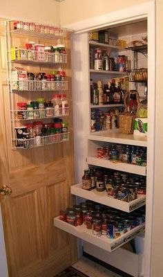 Organize your pantry ...maybe even add a drawer or two..  and shelves on the door {Photo}