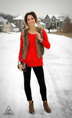 Fur vest love this outfit