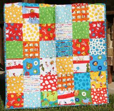 Dr Seuss Baby Quilt Whimsy Patchwork Fun Bright Boy or Girl. $149.00, via Etsy.