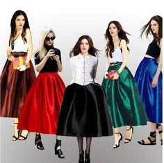 Aliexpress.com: Comprar Más el tamaño de la vendimia de la falda Tropical Un vestido del partido Ball Line plisado Midi faldas para mujer de cintura alta falda larga saia longa Femininas de falda casual fiable proveedores en My Fair Lady's Fashion