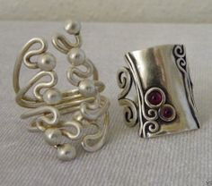 2 modernist sterling rings ruby cabachon signed AS Israel freeform swirls size 7