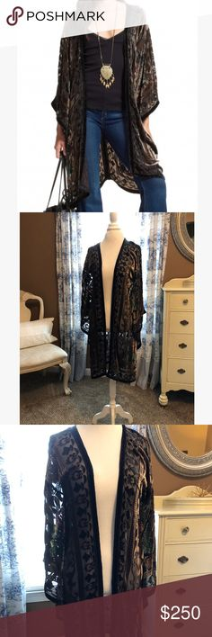 Calypso St. Barth Menavi Kimono Style yourself with worldly appeal in this glamorous and lush kimono jacket from CALYPSO St. Barth. The velvet burnout is elegant and very vintage feeling, while giving you everything you expect from a modern made piece. The subtle colors are spot on for fall/winter. Worn once for an evening event. Calypso St. Barth Jackets & Coats Capes