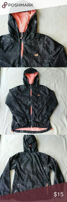 New Balance athletic jacket EUC Very light weight running jacket. The wrists have velcro and the waist is adjustable.   Pretty gray pattern with bright coral color on inside.  I have fixed the seam on the inside lining, in the armpit (shown in last pic). New Balance Jackets & Coats