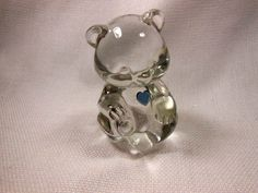 "Fenton Glass Birthday  Bear  December  with Heart Original Box and Tag 3 1/2"""