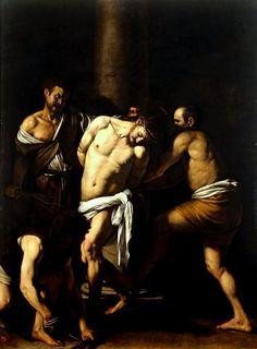 """Le Caravage - """"La Flagellation"""" (1607) - Huile sur toile, 286 × 213 cm - Musée Capodimonte, Naples, Italie."""