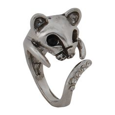 Lovely Cat Head Ring ($20) ❤ liked on Polyvore featuring jewelry, rings, cat ring and cat jewelry