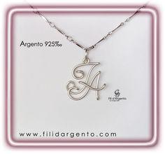 """Pendente con Iniziali """"F-A"""" Wire in Argento 925 ‰ / Pendant with Initials """"F-A"""" Silver Wire 925 ‰"""
