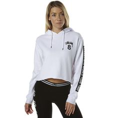 Stussy Cm Eight Cut Off Womens Hood (90 AUD) ❤ liked on Polyvore featuring tops, hoodies, white, stussy hoodies, cut off hoodies, white crop top, hooded tops and hooded crop top