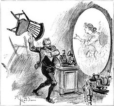 """""""The French illustrator and writer Albert Robida explored the social advantages and disadvantages of the Telephonoscope in the 1890s in his book 'La Vie Electrique.' Sometimes it takes inventions an awful long time to come to fruition."""" Submitted by BobE; """"Not yet the telephonoscope"""", Shorpy"""