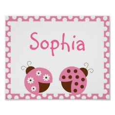 Pink Ladybug Personalized Nursery Wall Art Print