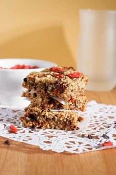 Goji Berry Energy bars 1 cup walnuts 1 cup almonds 1 cup pumpkin seeds 6 dates ½ teaspoon sea salt 1 teaspoon vanilla 2 Tablespoons coconut flour ½ cup agave ½ cups cocoa nibs 1 cup goji berries