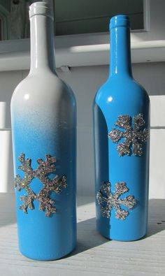 Winter Wine Bottles, Winter Décor, Holiday Décor, Christmas Décor, Repurposed, Upcycled, Reimagined, Recycled, Snowflake by SilvaLiningDesigns on Etsy