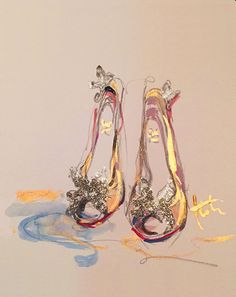 Cinderella's custom Louboutin slippers, by Katie Rodgers/Paper Fashion Arte Fashion, Paper Fashion, Fashion Design, Art And Illustration, Watercolor Fashion, Fashion Painting, Shoe Art, Art Plastique, Anime Comics