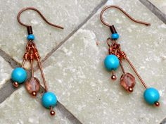 Lily and Jasmine Treasures: More from the Bead Soup: Triple dangle earrings.