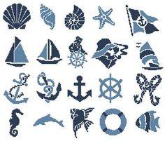 Nautical Motifs cross stitch pattern.