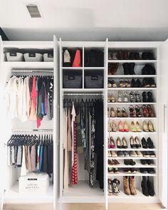 NEAT Method- closets, closet ideas, closet storage, closet design, beautiful closets, design ideas, modern spaces, modern design, organized homes, organized spaces, shoe storage, shelf organization, shoees