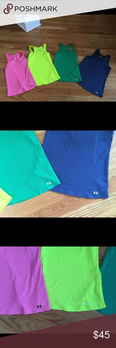 💪4 Under Armour tanks 💪 Blue/ XL. Green/Large.   Yellow large. Pink med Under Armour Tops Tank Tops