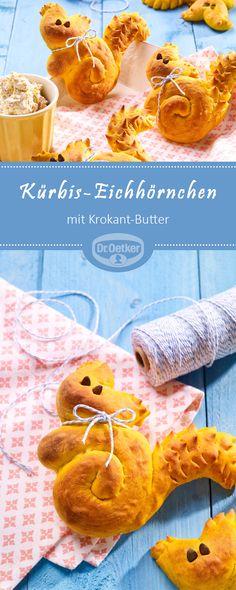 Kürbis-Eichhörnchen mit Krokant-Butter: Ein Hefegebäck mit Kürbis und süßer Butter