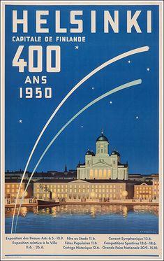 Helsinki Capital of Finland Scandinavia Vintage Travel Art Poster Print Poster City, Poster Ads, Poster Prints, Poster Vintage, Vintage Travel Posters, Vintage Ads, Ski Posters, Railway Posters, Helsinki