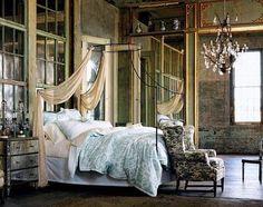 anthropologie bed frames, anthropology, canopy beds, anthropologie, loft, bricks, dream bedrooms, boho, apartments