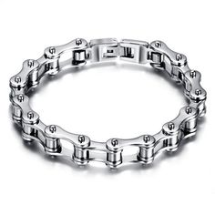 Material: Stainless SteelColor: Silver Black Gender: MenSize: About 22cm x 1cm Total Length: 22cm Width: 1cm Weight: About 32gPackage Includes: 1 X Bracelet Details: