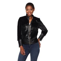"""Colleen Lopez """"Crushed Glass"""" Jacket - Black"""