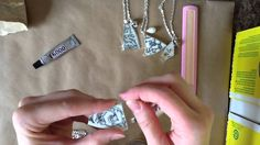 DIY Broken China Necklace Tutorial (how to achieve the soldered tape look without actually soldering anything, with aluminium foil tape)