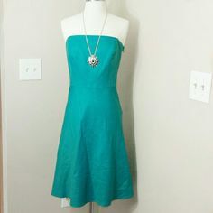 Strapless teal blue/green a-line dress Strapless teal dress with a-line skirt.  Fully lined. Ann Taylor Dresses