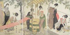 "Utagawa Toyokuni I (1769-1825), ""Women Washing and Stretching Cloth"", each sheet signed Toyokuni ga, with censor's kiwame (approval) seal and publisher's seal of Tsutaya Juzaburo (Koshodo, 1750-1797), ca. 1795, oban tate-e triptych 28 1/8 by 14 5/8 in., 71.5 by 37 cm. Asking price: $14,000. Photo courtesy Scholten Japanese Art"