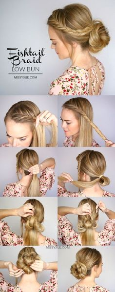 In case you haven't noticed yet, the low bun hairstyles with a touch of fishtail braid...
