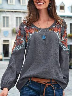Plus Size Long Sleeve Cotton-Blend Crew Neck Plain Tops - fabric arts embroidery sweets embroidery inspiration embroidery beautiful Plain Shirts, Plain Tops, Loose Shirts, Long Sleeve Tops, Long Sleeve Shirts, Bohemian Tops, Bohemian Blouses, Mode Style, Types Of Sleeves