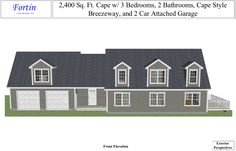 2,400 square feet Cape-style home with 3 bedrooms, 2 bathrooms, and 2-car attached garage