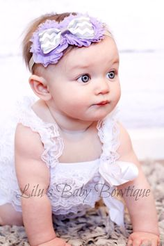 Lavender and Grey Chevron Shabby Baby Headband Toddler Newborn Photo Prop Shabby Flowers in Lavender with Grey Chevron Bow on Elastic Band. $9.00, via Etsy.