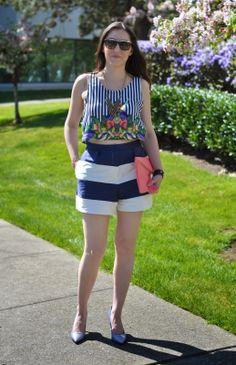 asos stripe shorts and crop top