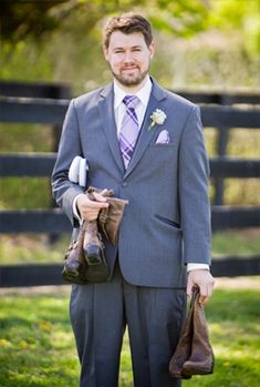 Groomsman with purple tie and cowboy boots @W Studios New York
