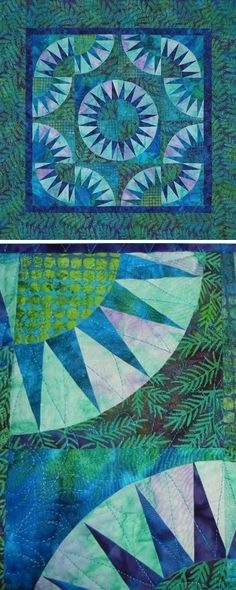 The deep blues and vibrant greens in the batik fabric really bring this quilt to life.