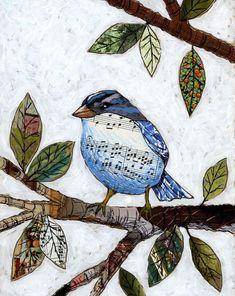 Bird art prints … Songbird — 8 x 10 Glossy Print, from my original collaged artwork Peinture-impression Art Altéré, Art Du Collage, Mixed Media Collage, Collage Making, Collage Ideas, Mixed Media Artwork, How To Make Collage, Mixed Media On Canvas, Mixed Media Journal