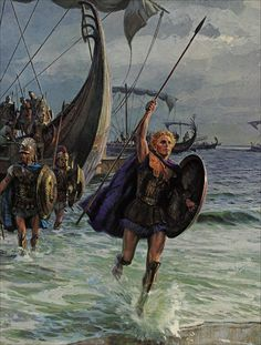 Alexander the Great landing at a beach