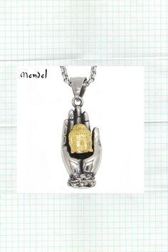 Buddha Necklace Pendant Gold Buddha's Hand Head Amulet Jewelry Silver