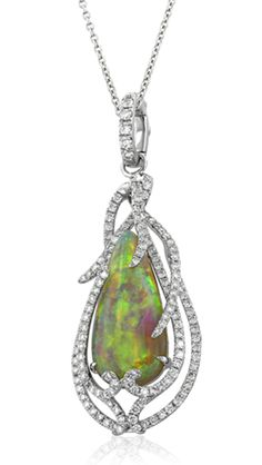 Yael Designs Lyra Collection Opal and Diamond Pendant