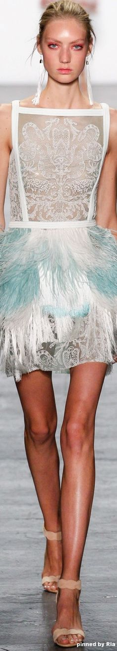 chiffon print in the centre, and layered skirt  Tadashi Shoji Spring Summer 2017 l Ria