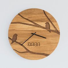 Modern Wall Clock, made from solid Oak wood / Gorgeous wall decor with unique design pattern / TOMS / Made by DABA