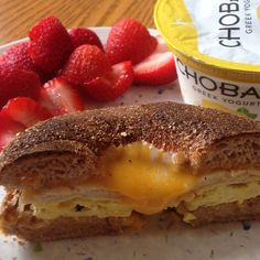 Post workout noms was egg sandwich porn My egg sandwich I made yesterday tasted so good, I decided to make another one today❤️ I also had strawberries and lemon @chobani Greek yogurt on the side #latergram