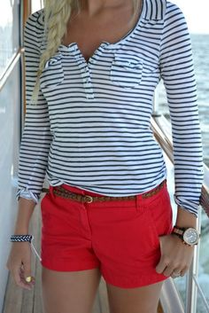 navy stripes and red shorts.