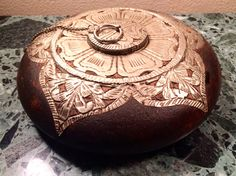 Oil Burning Candle Wooden Hand Carved with Metal Inlay Decoration by MidCenturyAmericana on Etsy