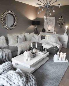 28 Cozy Living Room Decor Ideas To Copy grey and white living room decor - Living Room Decoration Living Room Decor Cozy, Chic Living Room, Living Room Grey, Home Living Room, Apartment Living, Living Room Designs, Cozy Apartment, Cozy Room, Bedroom Decor